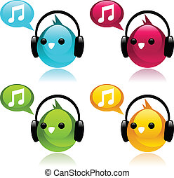 Colorful Birds with Earphones. - Vector set of colorful...