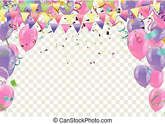 Colorful birthday balloons and confetti Festive  Background Vector. Ready for Text and Design