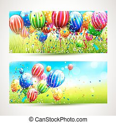 Colorful birthday banners
