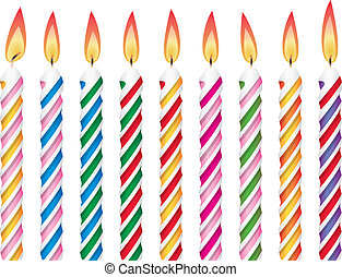 colorful birthday candles - vector set of colorful birthday...