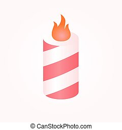 Colorful birthday candles whit flame.