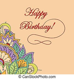 colorful birthday card in boho style