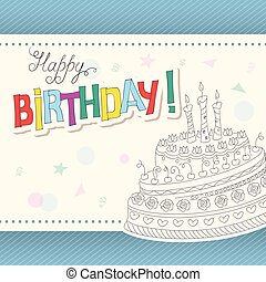 colorful birthday card with outline doodle cake three candles