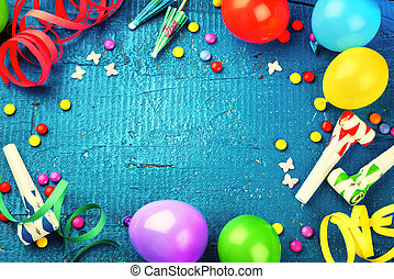 Colorful birthday frame with multicolor party items. Happy birthday concept