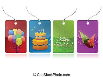 colorful birthday tags illustration