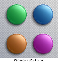 Colorful blank button badges, round pin magnets isolated vector set