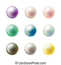 Colorful blank round buttons realistic vector set