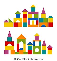 Colorful blocks toy building tower, castle, house