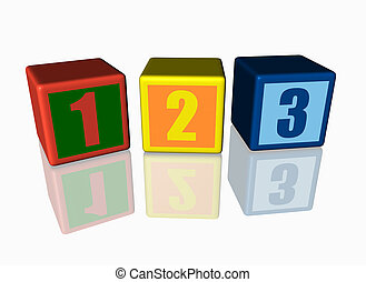 Colorful blocks with 123 numbers. - Colorful blocks with 123...