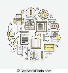 Colorful blogging round illustration