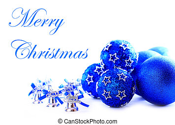 Colorful blue christmas decoration baubles on white with space for text.