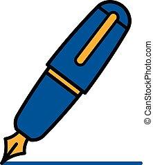 Colorful blue outline cartoon fountain pen