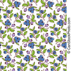 Colorful blueberries vector seamless pattern