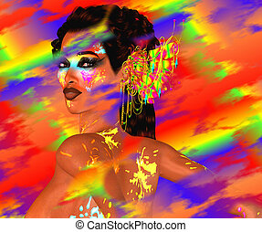 Colorful Blurs,Woman's Face