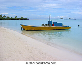 colorful boat at Cook Islands beach