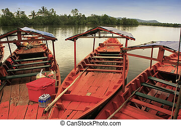 Colorful boat at Ream National Park, Cambodia, Southeast...