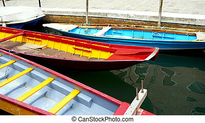 colorful boats in Venice Canal