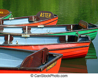 Colorful boats on boating lake in Peasholm Park, Scarborough...