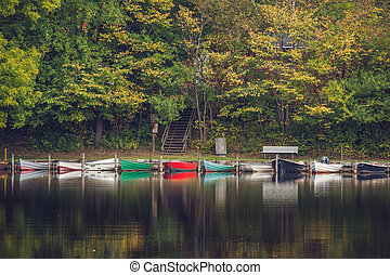 Colorful boats on row at an idyllic river