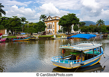 colorful boats Paraty - colorful boats in the bay of the...