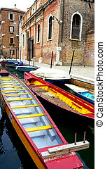 colorful boats transportation with Ancient Building