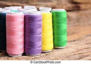 Colorful bobbins thread