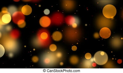 Colorful bokeh, defocused lights and particles on black, motion background