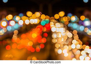Colorful Bokeh light on the road