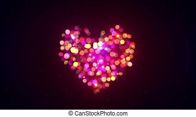 colorful bokeh lights heart shape loopable animation