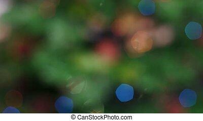 Colorful bokeh of Christmas lights tree. Static