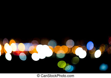Colorful Bokeh or blur light in city at night time