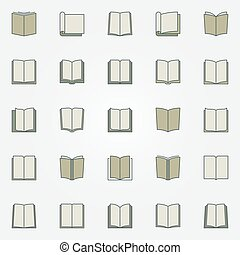 Colorful book icons set