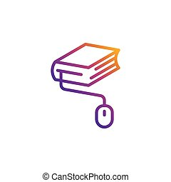 Colorful book with mouse vector education icon for online education, universities, schools etc.