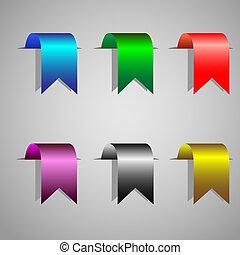 bookmark ribbons - Colorful bookmark ribbons.Vector set