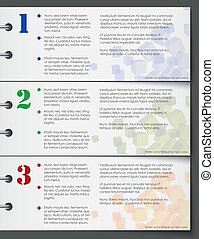 Colorful bookmarks for three steps on white background