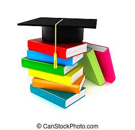 Colorful books and graduation cap