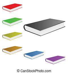 Books of different color lie on a white background.