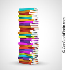 colorful books - stack of books on white background