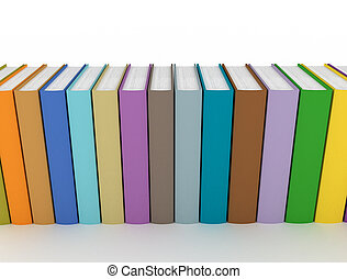 colorful books close up white background