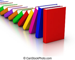Colorful books Domino Effect - 3D rendered row of colourful...