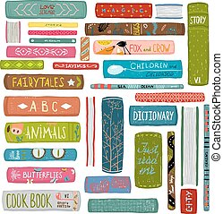 Colorful Books Drawing Library Collection - Big set of hand ...