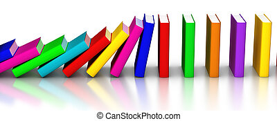 Colorful books falling like domino - 3D rendered row of...