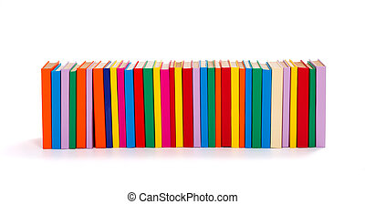 Lot of colorful books in a row on white background