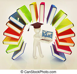 Colorful books like the rainbow and 3d man in a graduation hat with laptop . 3D illustration. Vintage style.