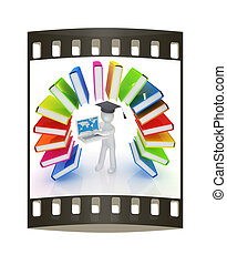 Colorful books like the rainbow and 3d man in a graduation hat with laptop. The film strip
