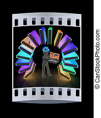 Colorful books like the rainbow and 3d man in a hard hat with laptop. The film strip