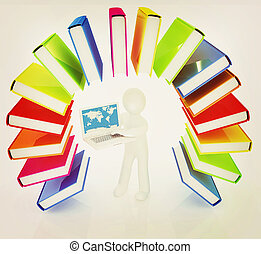 Colorful books like the rainbow and 3d man with laptop . 3D illustration. Vintage style.