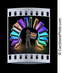 Colorful books like the rainbow and 3d man with laptop. The film strip