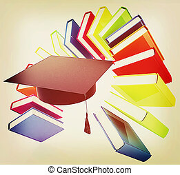 Colorful books like the rainbow and graduation hat . 3D illustration. Vintage style.