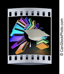 Colorful books like the rainbow and graduation hat. The film strip